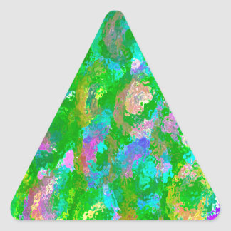 Easter Green Floral Design Triangle Sticker
