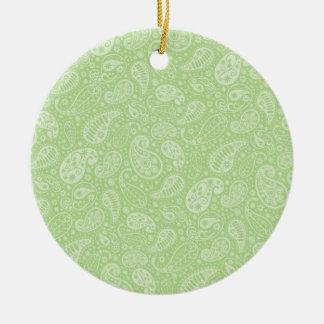 Easter Green Retro Paisley Round Ceramic Decoration