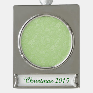 Easter Green Retro Paisley Silver Plated Banner Ornament