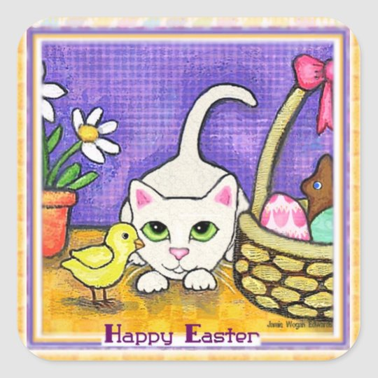 Easter Greeting  Cute Cat & Chick Sticker