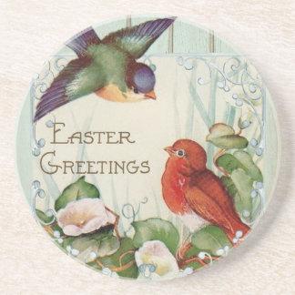 Easter greetings beverage coaster