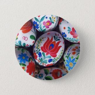 Easter greetings kalocsai eggs 6 cm round badge