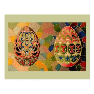 Easter Greetings Painted Eggs Vintage Postcard
