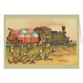Easter Greetings With Egg Train Vintage Card