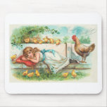 Easter Greetings With Hen, Chicks and Girl Mouse Pads