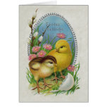 Easter Greetings Yellow Chicks Flowers Greeting Card