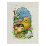 Easter Greetings Yellow Chicks Flowers Postcard
