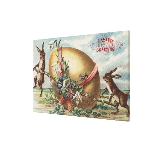 Easter GreetingsRabbits by a Decorated Egg Canvas Print