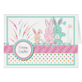 "Easter - ""Happy Bunny Family"" - Customize Greeting Card"