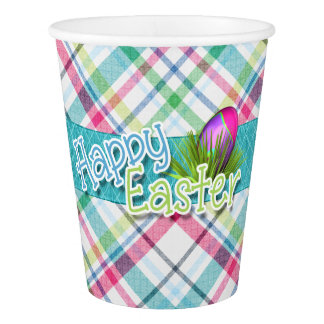 """Easter - """"Happy Easter"""" Stripe Pattern Paper Cup"""