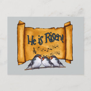 Easter: He Is Risen! Old Scroll, Singing Birds Art Holiday Postcard