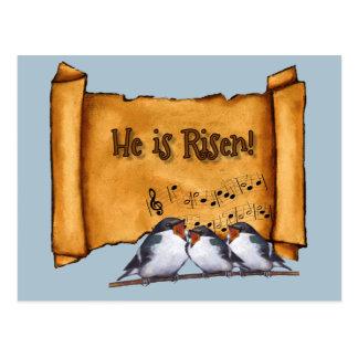 Easter: He Is Risen! Old Scroll, Singing Birds Art Postcard