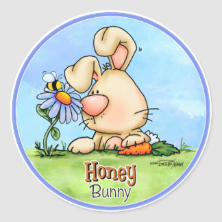 Easter Honey Bunny Classic Round Sticker