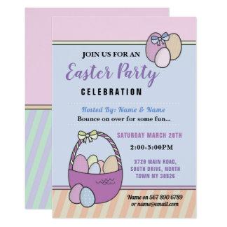 Easter Invitation Party Egg Hunt Pink Basket