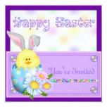 "Easter Invitations with Eggs & Bunny's 5.25"" Square Invitation Card"