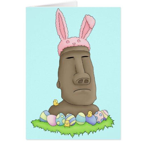 Easter Island Bunny Parody Greeting Card