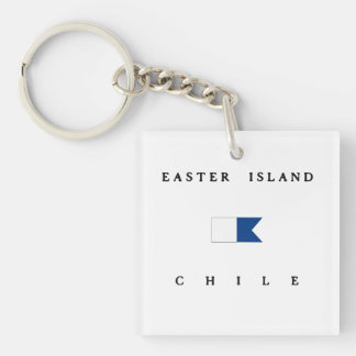 Easter Island Chile Alpha Dive Flag Acrylic Keychains