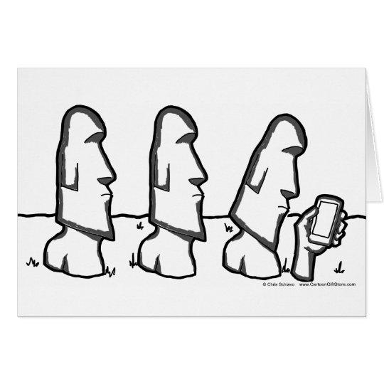 Easter Island Head Cartoon Greeting Card