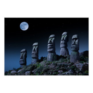 Easter Island Heads Poster