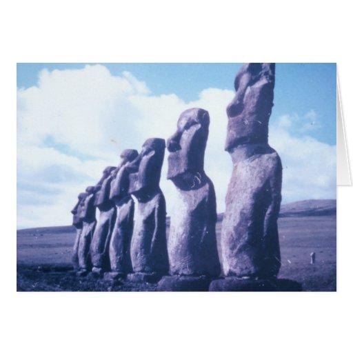 Easter Island Moai Heads Greeting Cards