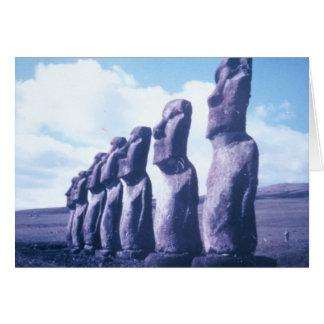 Easter Island Moai Heads Greeting Card