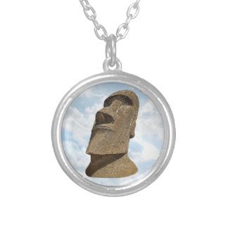 Easter Island Moai - Silver Plated Round Necklace