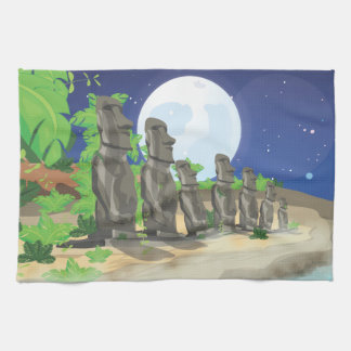 Easter Island Moai Tea Towel