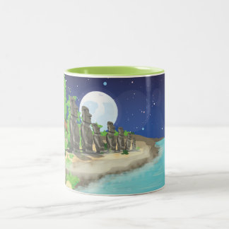 Easter Island Moai Two-Tone Coffee Mug