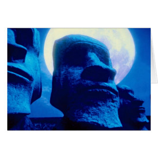 Easter Island statue with moon Greeting Card