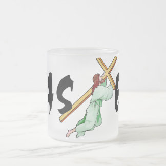 Easter Jesus Cross Frosted Glass Mug