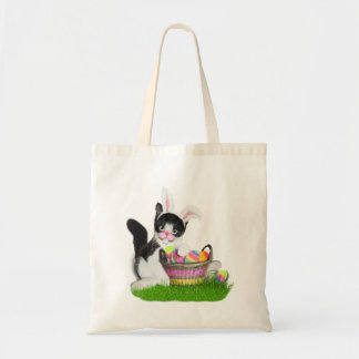 Easter Kitten Wearing Bunny Ears Budget Tote Bag
