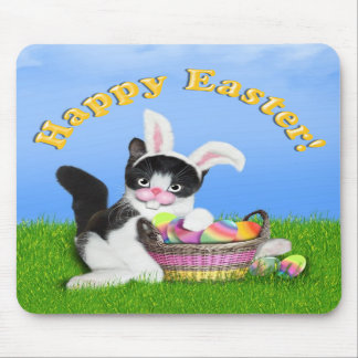 Easter Kitten With Bunny Ears & Basket of Eggs Mouse Pad
