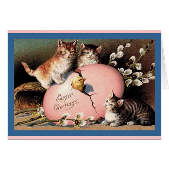 Easter Kittens Vintage Art Card
