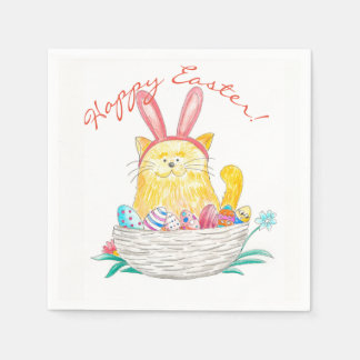 Easter Kitty // Happy Easter Disposable Serviette