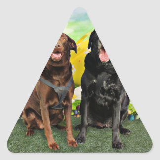 Easter - Labrador - Jack and Diane Triangle Stickers