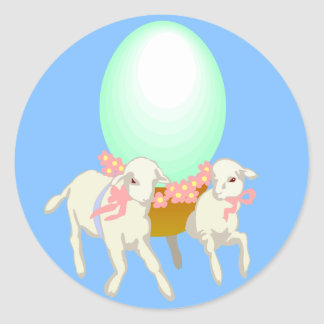 Easter Lambs and Egg Round Sticker