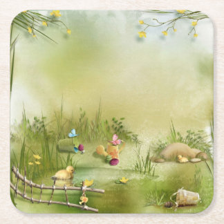 Easter Landscape Paper Coaster Square Paper Coaster