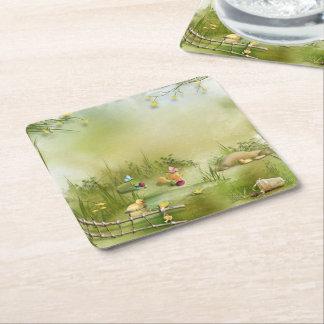 Easter Landscape Square Paper Coaster