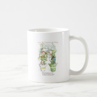 Easter Lilies and Children Vintage Coffee Mugs