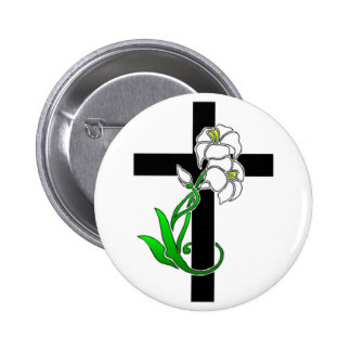 Easter Lilies and Cross 6 Cm Round Badge