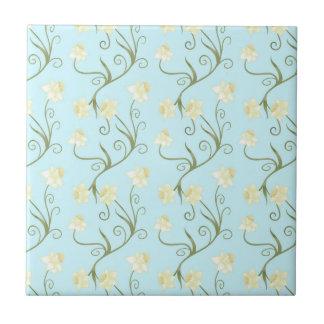 Easter lilies,art nouveau,trendy,pattern,mint,fun small square tile