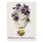 Easter Lilies Balloon Vintage Postcard