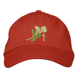 Easter Lilies with Cross Inspirational Embroidered Cap