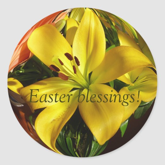 Easter lily classic round sticker