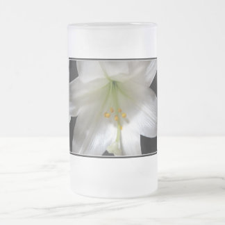 Easter Lily Frosted Glass Beer Mug