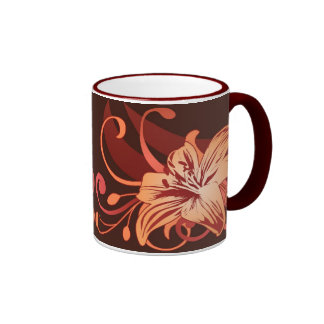 Easter Lily In Red Ringer Mug