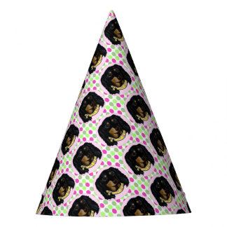 Easter Long Haired Black Dachshund Party Hat