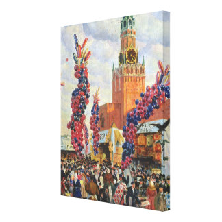 Easter Market at the Moscow Kremlin, 1917 Canvas Print