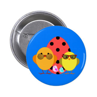 Easter or Spring Egg & Chick Family - Cute! 6 Cm Round Badge
