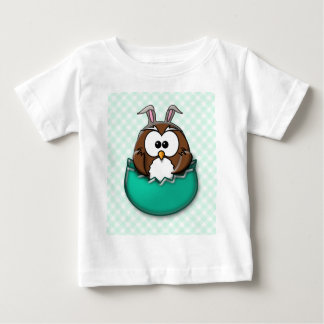 Easter owl gingham - green t-shirt
